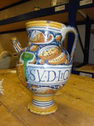 Syrup jug, probably from Castel Durante, Italy