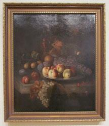 Peaches, Grapes, Seven Plums on a Pewter Plate with a Melon, Pears, Apples, and Red Currants on a Marble Ledge