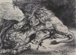 Group D'Animaux - Lion Devorant Un Cheval (Lion Devouring A Horse)
