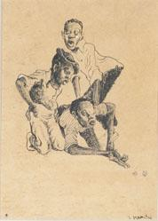 Untitled (Three Boys Throwing Dice)