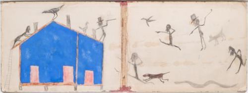 Untitled (multiple figures with blue house)