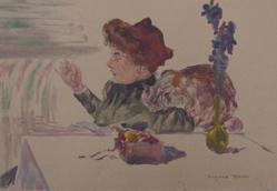 Lady Sewing By A Table