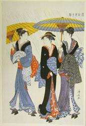 Under Umbrellas in a Shower, from A Brocade of Eastern Manners (Fuzoku Azuma nishiki)