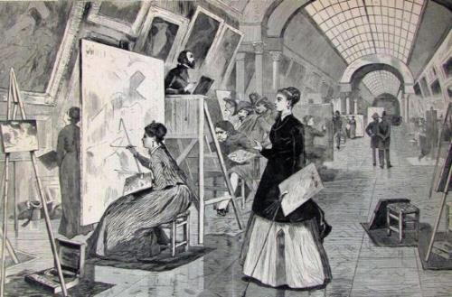 Art-Students and Copyists in the Louvre Gallery, Paris (from Harper's Weekly January 11, 1868)