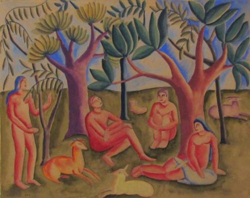 Untitled (Figures Beneath Trees)