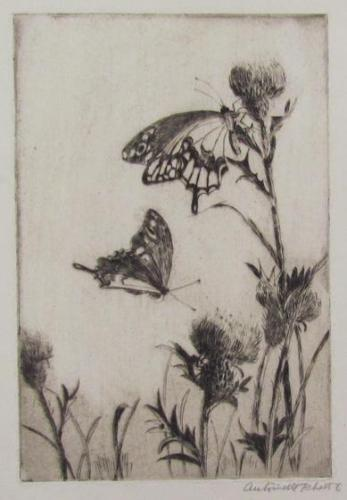Untitled (Butterflies On Thistles)