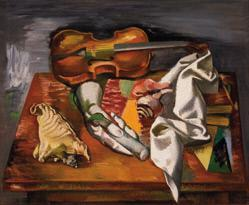 Surrealist Still Life with Violin and Plaster Hand